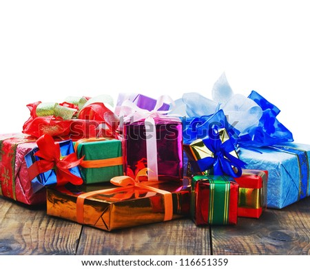 Christmas and New Year's gifts on a white background with space for greeting text