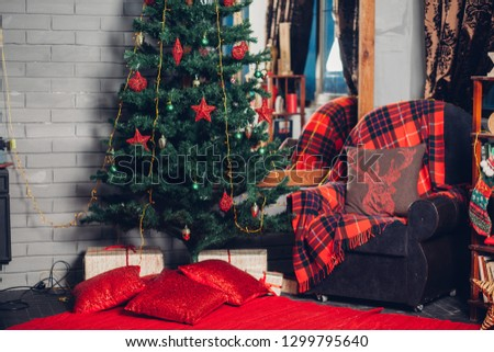 Christmas and New Year s holiday background, Winter season tree