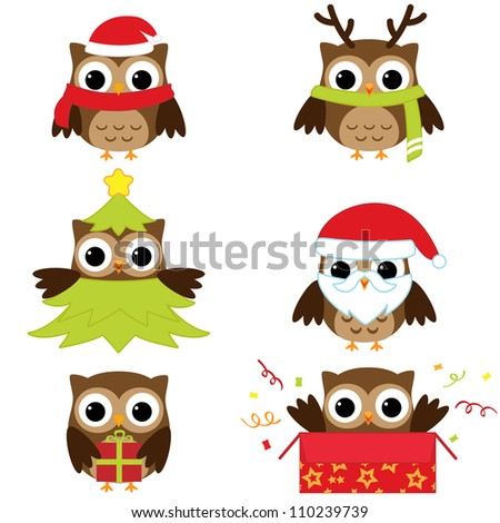 Christmas and New Year's owls in funny costumes. Raster version.