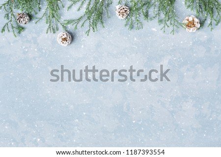 Christmas and New Year snowy background. Green twigs and cones border. Blue copy space, top view. Winter holidays. #1187393554