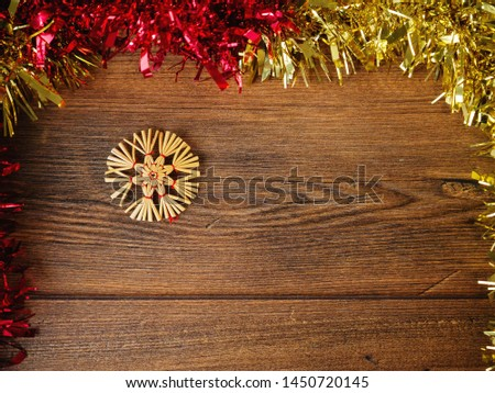 Christmas and new years abstract background, Red and gold silver decoration on a wooden surface, Snow flake ornament. #1450720145