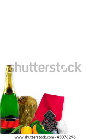 Christmas and New Years menu or card with several symbolic objects over white background