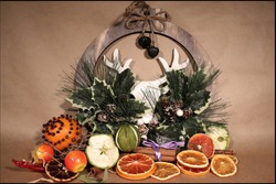 Christmas and Yule Decoration with dried fruits
