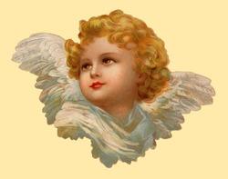 Christmas angel - an 1899 vintage greeting card illustration
