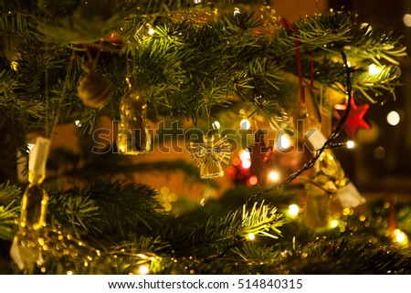 christmas angel on a christmas tree background