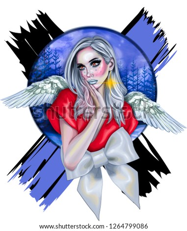 Stock Photo Christmas Angel. Stylized digital poster with winter angel girl.