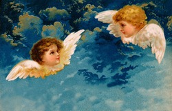 Christmas angels - a 1909 vintage illustration