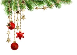 Christmas arrangement with green pine twigs and hanging red decorations isolated on white background