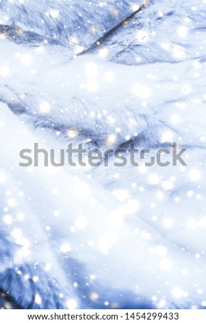 Christmas backdrop, warm winter clothing and fashion design concept - Holiday winter background, luxury fur coat texture detail and glowing snow #1454299433