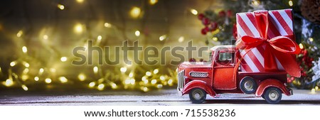 Free Photos Vintage With Red Truck Christmas Decoration