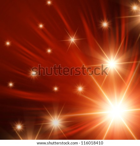 christmas background, abstract shining stars with orange rays lights