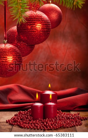 Christmas background - balls and candles