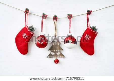 Christmas background. Christmas decoration on white background. Copy space.
