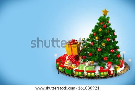 Christmas background. Christmas tree, gifts and railroad on blue
