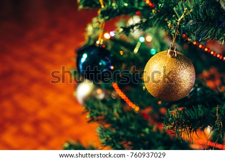 Christmas background: decorations on Christmas tree. #760937029