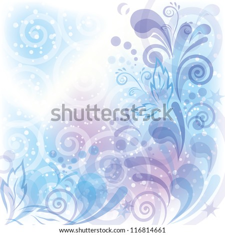 Christmas background for holiday design with abstract floral patterns, helixes and confetti