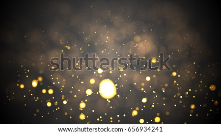 Christmas Background. Golden Holiday Abstract Glitter Defocused Background With Blinking Stars. Blurred Bokeh #656934241