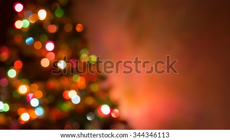 christmas background, image blur bokeh defocused lights decoration on christmas tree #344346113
