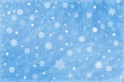 Christmas background in blue with white snowflakes
