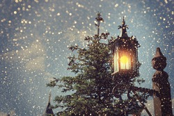 Christmas background. Lantern
