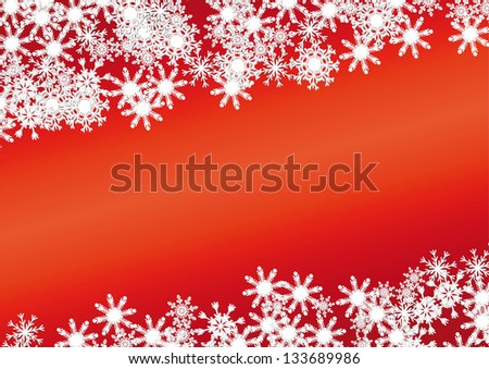 Christmas background made with snowflakes over red #133689986