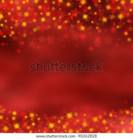 Christmas background of red and gold stars
