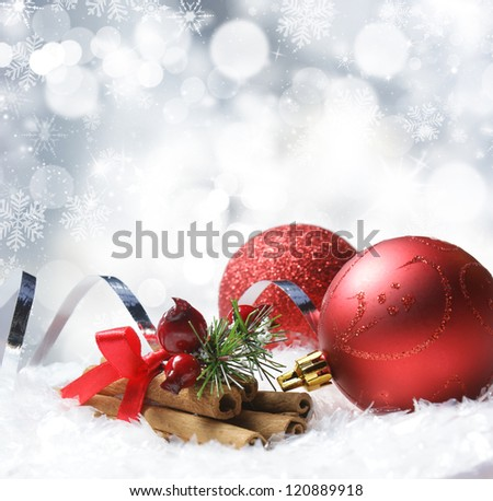 Christmas background of snowflakes and stars with decorations