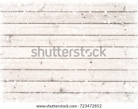 Christmas background - Old white wood texture with snow. vintage and rustic style