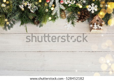 Christmas background on the white wooden desk #528452182