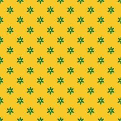 Christmas background or decorations. Festive creative seamless pattern of green snowflakes made of small Christmas trees cut out of holographic paper on bright yellow background. Square photo.