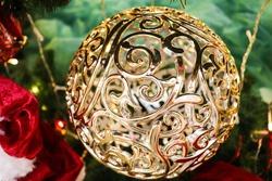 christmas background. original christmas balls hanging on the christmas tree