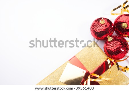 Christmas background present beautiful gold red setting with white space for copy