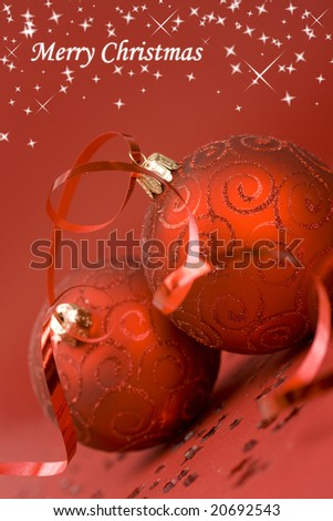 Christmas background; red globes, stars, ribbon