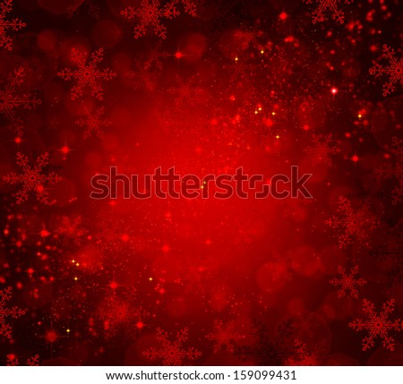 Christmas Background. Red Holiday Abstract Defocused Backdrop With Snowflakes and Stars. Blurred Bokeh