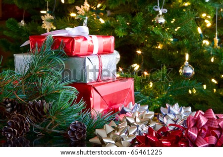 christmas background - ribbons, gifts, bows, tree, & greenery
