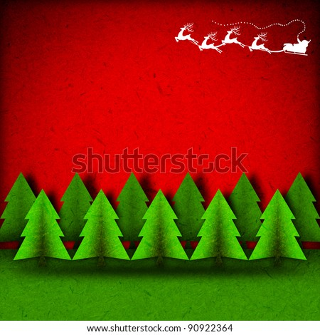 Christmas background,Santa Claus On Sledge With Reindeer on pines forest, paper craft.