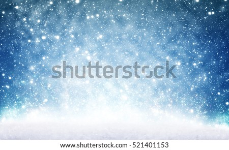 Christmas background, snow and sky #521401153