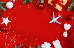 Christmas background with airplane, travel. Selective focus nature