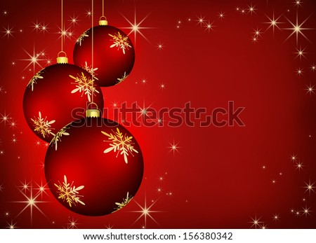 Christmas background with an illustration of three red snowflake baubles.