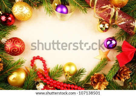 Christmas background with balls and decorations