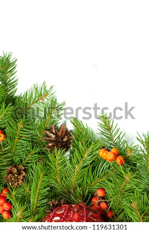 Christmas background with balls and decorations isolated on white background