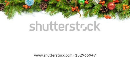 Christmas background with balls and decorations isolated on white background #152965949
