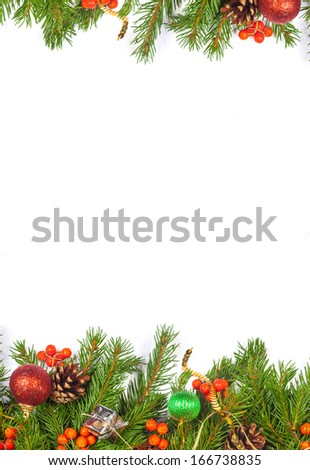 Christmas background with balls and decorations isolated on white background #166738835