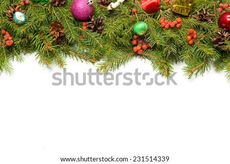 Christmas background with balls and decorations isolated on white background #231514339