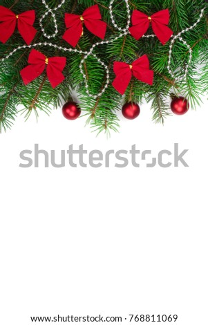 Christmas background with balls and decorations isolated on white with copy space for your text. Top view #768811069