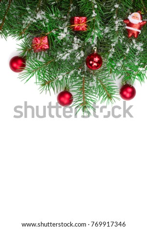 Christmas background with balls and decorations isolated on white with copy space for your text. Top view #769917346