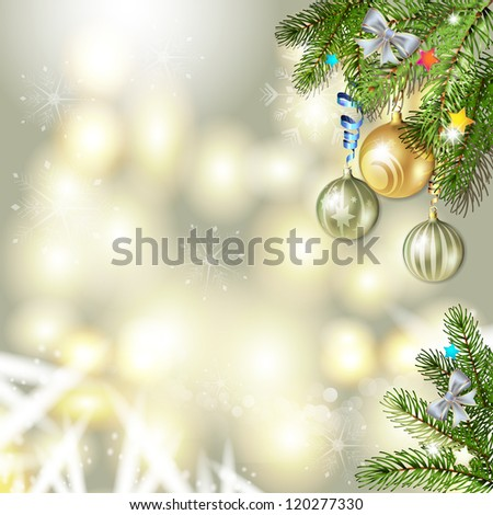 Christmas background with balls and pine tree branch #120277330