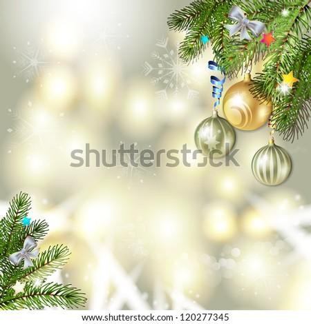 Christmas background with balls and pine tree branch #120277345