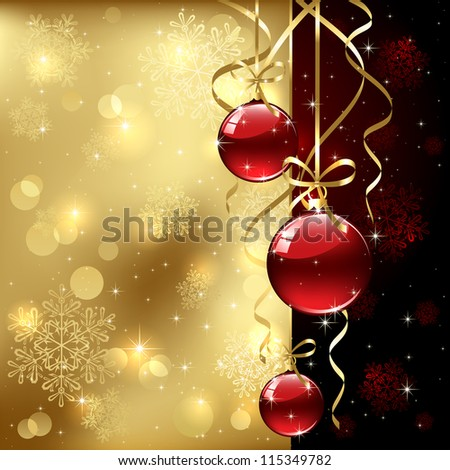 Christmas background with baubles, illustration.