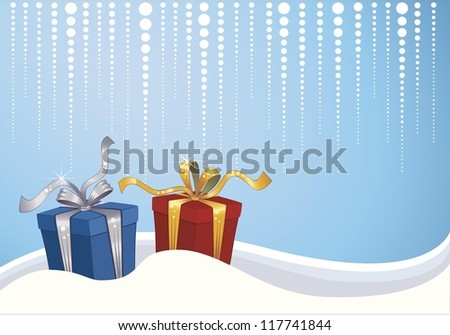 Christmas background with blue and red gift box in the snow